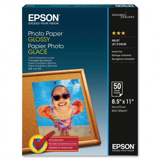 Epson Glossy 8.5x11 Bright White Photo Paper - 50 Sheets Image