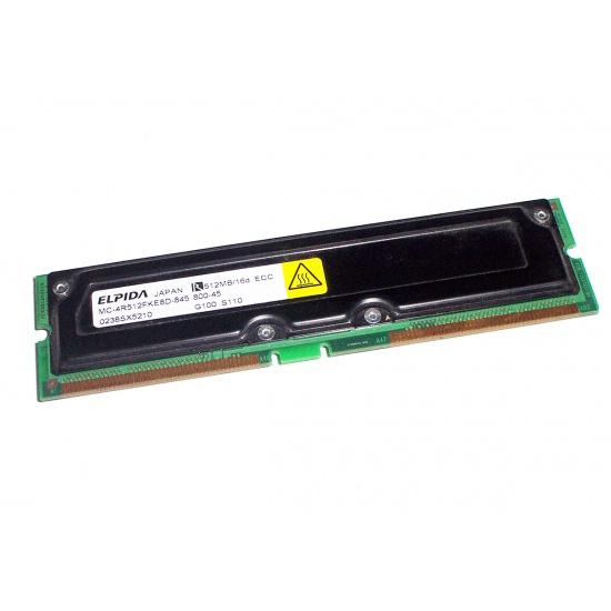 512MB Elpida PC800 ECC Rambus RIMM memory module 184 pins Image