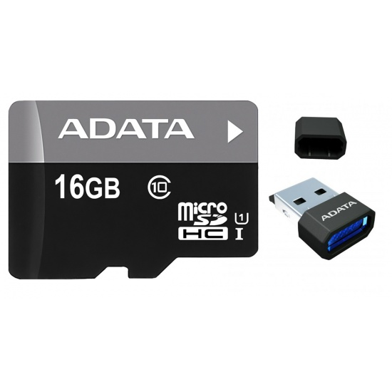 16GB AData microSDHC UHS-1 CL10 memory card with USB Reader Image