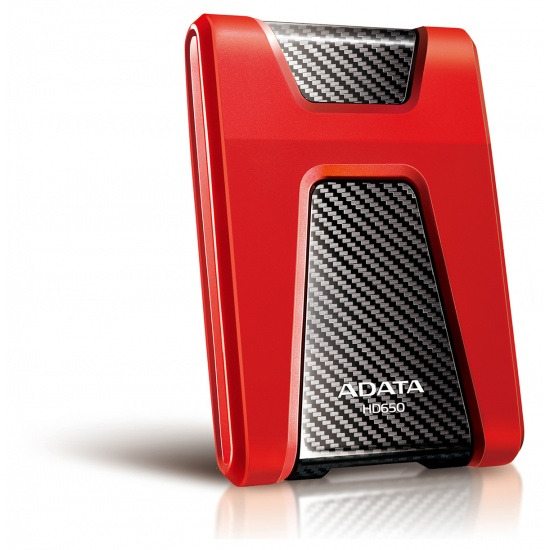 2TB AData Red/Black HD650 DashDrive USB3.1 Portable Hard Drive Image