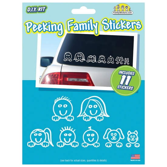 Peeking Family Car Stickers - contains 11 stickers Image