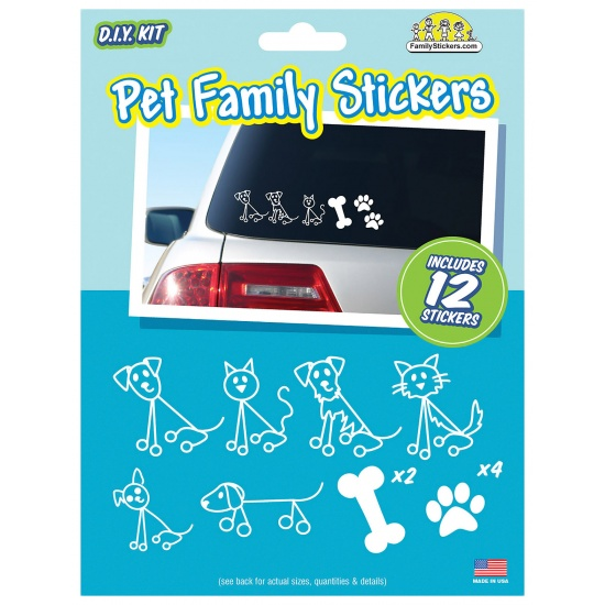 Pet Family Car Stickers - contains 12 stickers Image