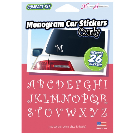 Monogram Car Stickers - Curly - Compact Kit with 26 Stickers Image