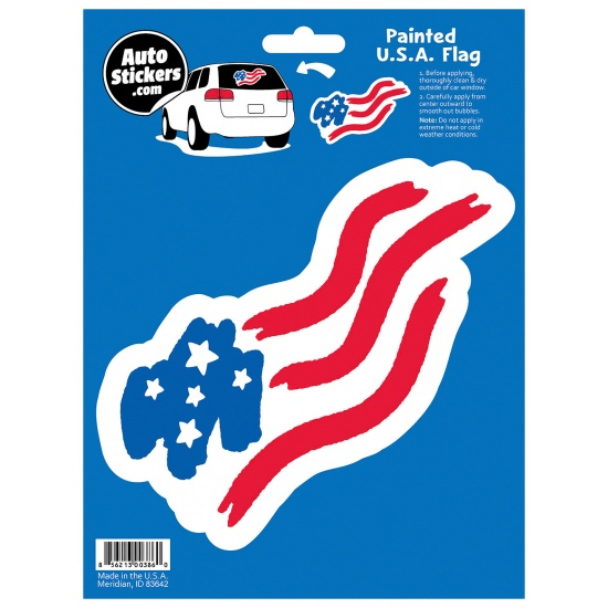 Painted USA Flag Car Sticker Image