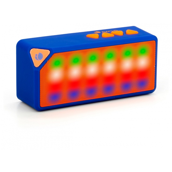 NGS Roller Flash LED Wireless BT Speaker with USB Port, MicroSD slot and FM Radio - Blue Edition Image