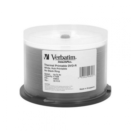 Verbatim DVD-R DataLifePlus 4.7GB 8X White Thermal Printable 50-Pack Spindle Image