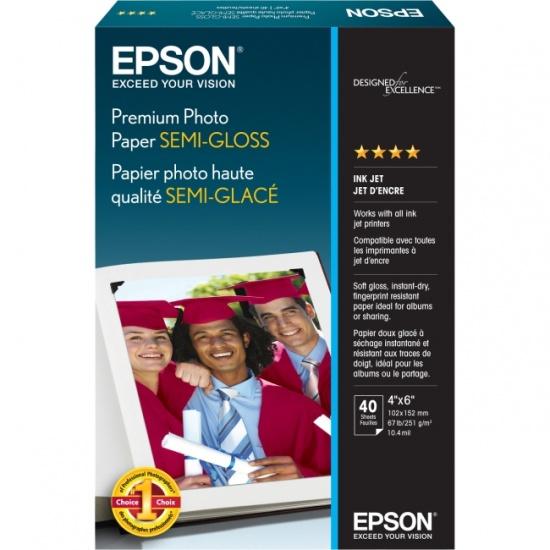 Epson Premium 4x6 Semi-glossy Photo Paper - 40 Sheets Image