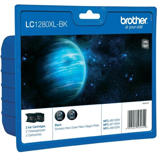 Brother LC-1280XLBKBP2DR Ink Cartridge Twin Pack - Black Image