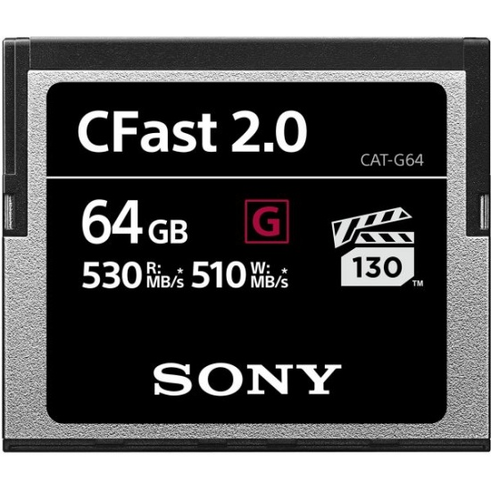 64GB Sony CFast G Series Memory Card - Speed Rating (up to 530MB/sec) Image