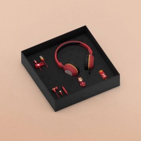 Iron Man Gift Set - Headphones, Earphones, 16GB USB Flash Drive, Cable & Car Charger Image