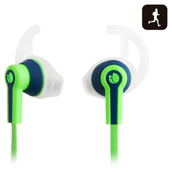 NGS Racer - Sport Earphones with Tangle Free Cable and Built-in Microphone - Green Image