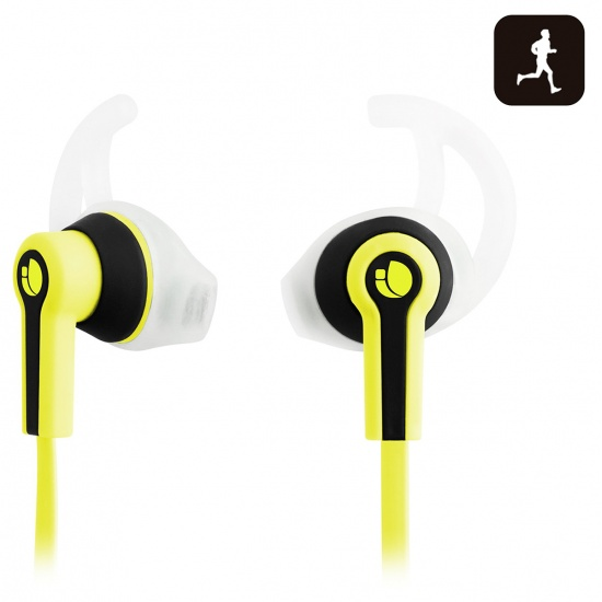 NGS Racer - Sport Earphones with Tangle Free Cable and Built-in Microphone - Yellow Image