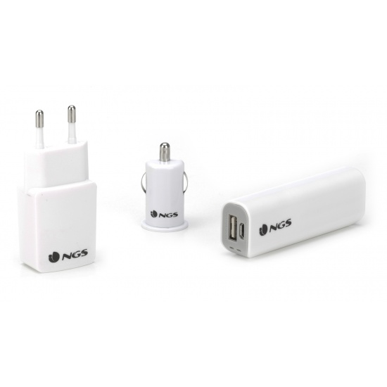 NGS Duke Smartphone Travel Kit - Powerbank, Car & Wall Chargers and 8GB Micro SD Card Image