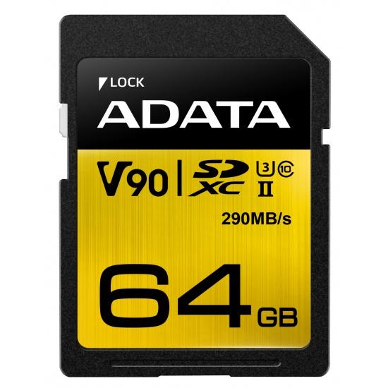 64GB AData Premier ONE SDXC UHS-II U3 290MB/s Class 10 Memory Card Image