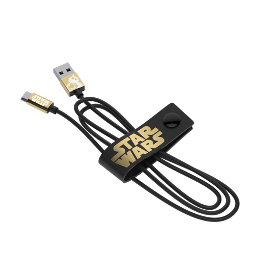 Star Wars TLJ BB-8 Gold Micro USB Cable 120cm - Limited Edition Image