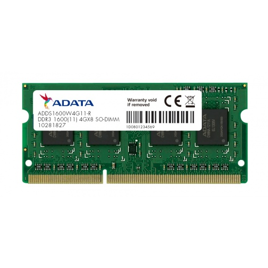 4GB AData DDR3 1600MHz SO-DIMM PC3-12800 CL11 Laptop Memory Image