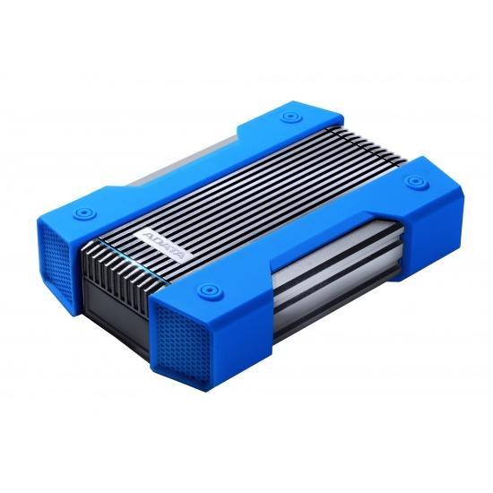 5TB AData HD830 Extreme Durable USB3.1 Portable Hard Drive - Aluminum/Silicone - Black/Blue Image