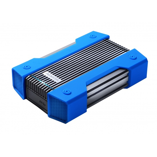4TB AData HD830 Extreme Durable USB3.1 Portable Hard Drive - Aluminum/Silicone - Black/Blue Image