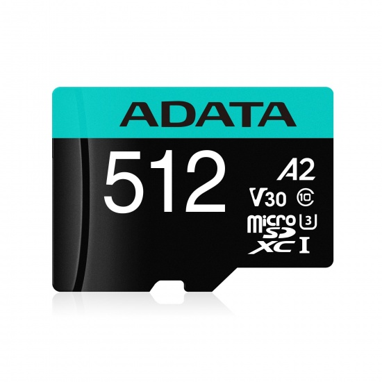 512GB AData Premier Pro microSDXC CL10 UHS-I U3 V30 A2 Memory Card with SD Adapter Image