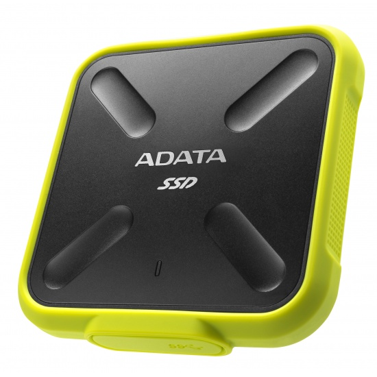 512GB AData SD700 Durable External SSD - USB3.1 Interface - Black/Yellow Image