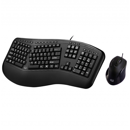 Adesso Truform 150CB Ergonomic Wired Optical Mouse and Keyboard Combo w/Wrist Rest - US English Layout Image