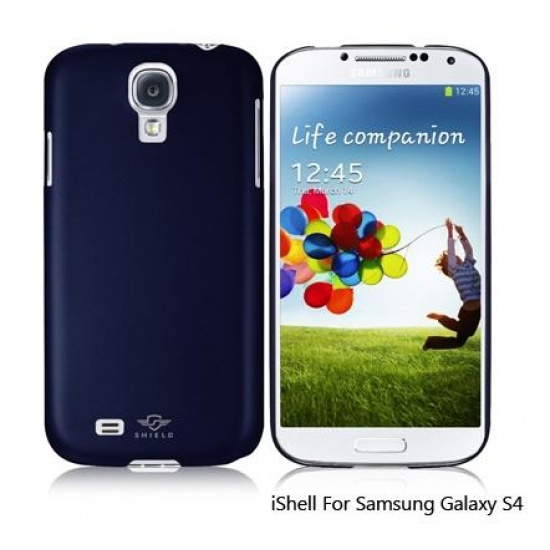 iShell Navy Blue Classic Snap-On Case + Screen Protector for Samsung Galaxy S4 Image