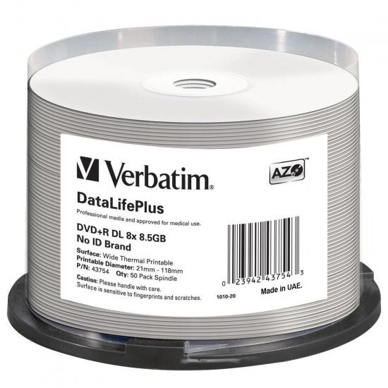 Verbatim DVD+R DL 8.5GB 8X DataLifePlus Shiny Silver 50-Pack Spindle Image