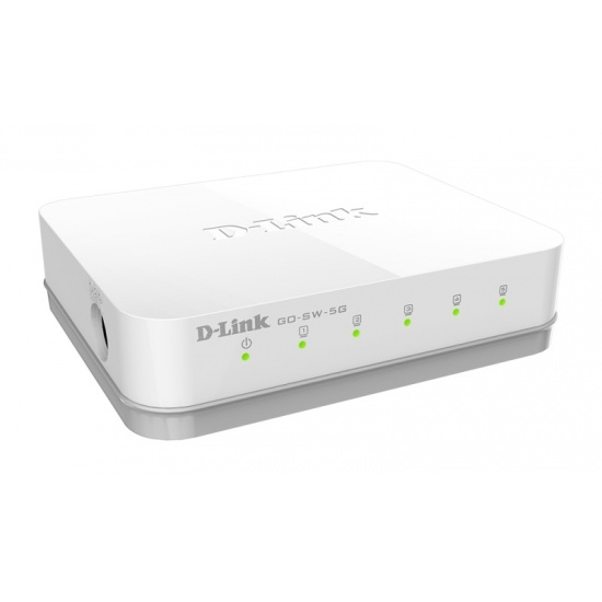 D-Link 5-Port GO-SW-5G Unmanaged Switch (10,100,1000) - White Image