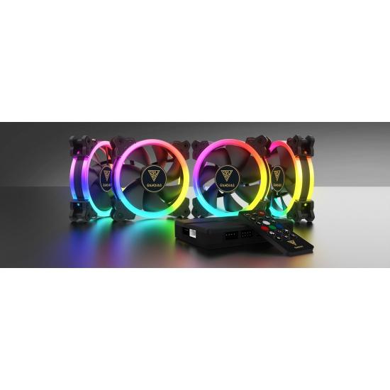 Gamdias AEOLUS M1-1204R 4-Pack Case RGB Fans with Remote Control Image