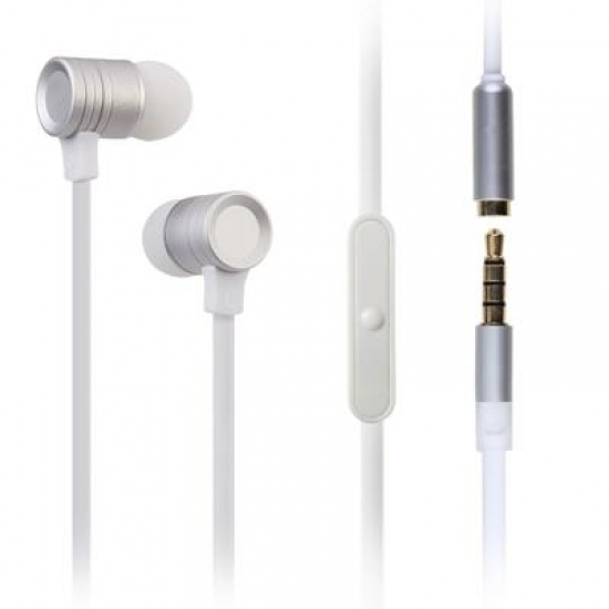 GEEQ White Flat-cable Metal Noise-isolating Earphone with Microphone Image