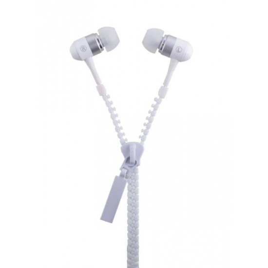 GEEQ Ice White Zip-Style Noise-isolating Earphone with Microphone Image