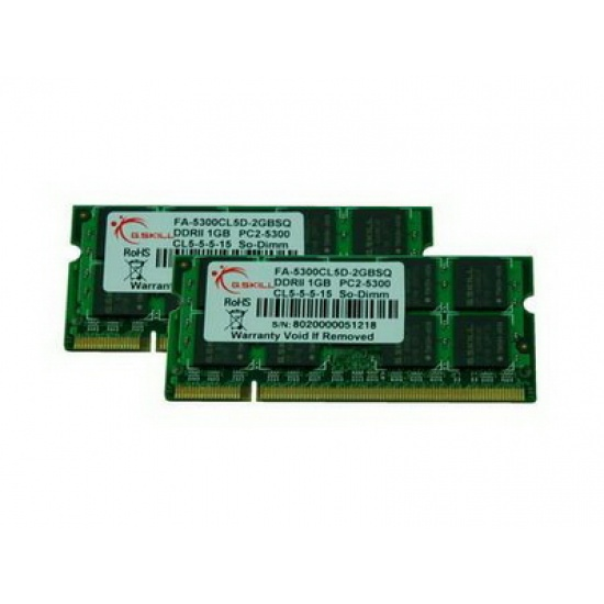 4GB G.Skill DDR2 667MHz Apple Series laptop memory kit PC2-5300 2x2GB (CL5) Image