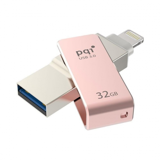 32GB PQI iConnect mini 102 USB Flash Drive for iPhone, iPod, iPad - Rose Gold Image
