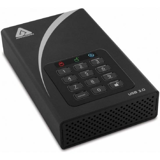 8TB Apricorn Aegis Padlock DT External Hard Drive - Black Image