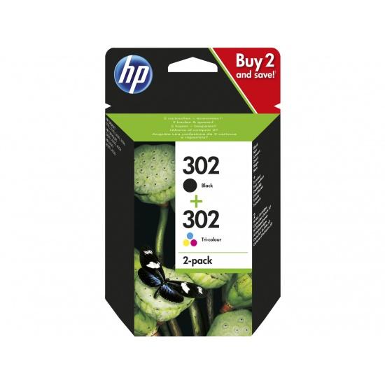 HP 302 2-pack Black/Tri-color (Cyan, Magenta, Yellow) Original Ink Cartridges (X4D37AE) Image