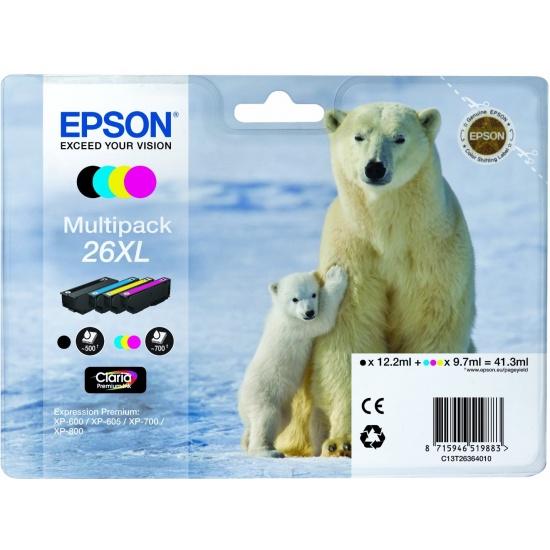 Epson 26XL Multi-pack Ink Cartridge (Black, Yellow, Cyan, Magenta) Image