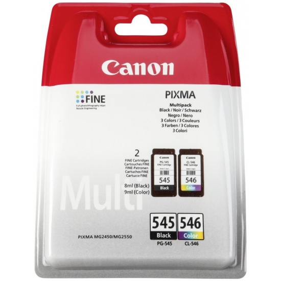 Canon PG-545 CL546 Multi-pack (Black, Cyan, Magenta, Yellow) Image