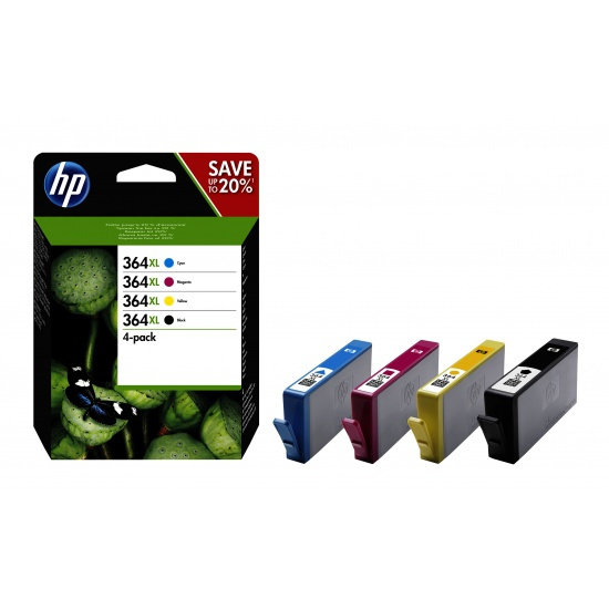 HP 364XL Multi-pack Ink Cartridges (Black, Cyan, Magenta, Yellow) Image