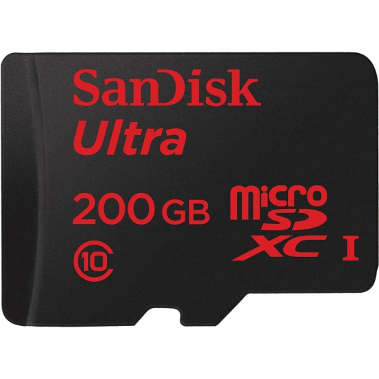 200GB Sandisk Ultra microSDXC Class 10 UHS-I with Full-Size SD Adapter Image