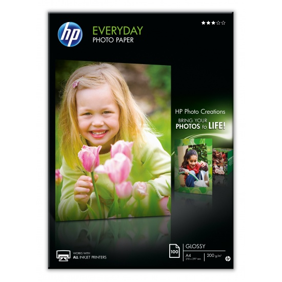 HP Everyday Glossy Photo Paper A4 Size - 100 Sheets Image