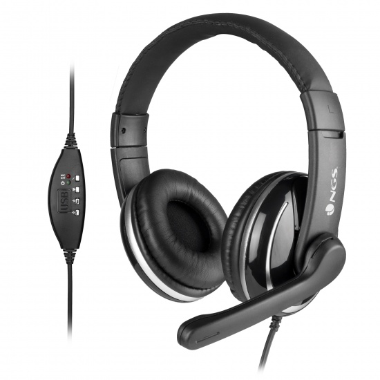 NGS USB Stereo Headphones with Microphone, Black Image