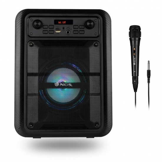 NGS Lingo 20W Portable Wireless BT Speaker with Microphone - Black Image