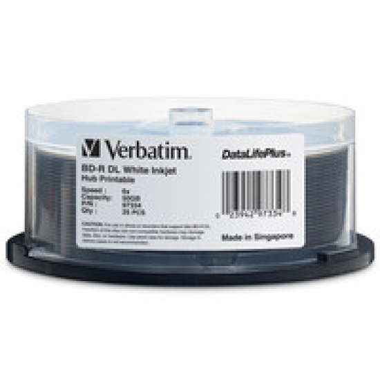Verbatim Blu-Ray BD-R DL 97334 50GB 6X White Inkjet Printable 25-Pack Spindle Image