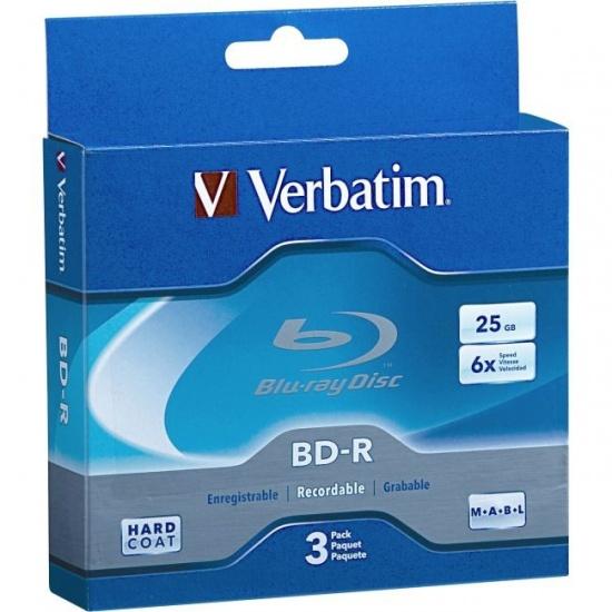 Verbatim Blu-Ray BD-R 97341 25GB 6X Branded 3-Pack Jewel Case Box Image