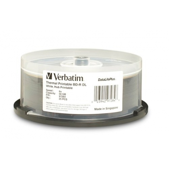 Verbatim Blu-Ray BD-R DL 97284 50GB 6X White Thermal Printable 25-Pack Spindle Image
