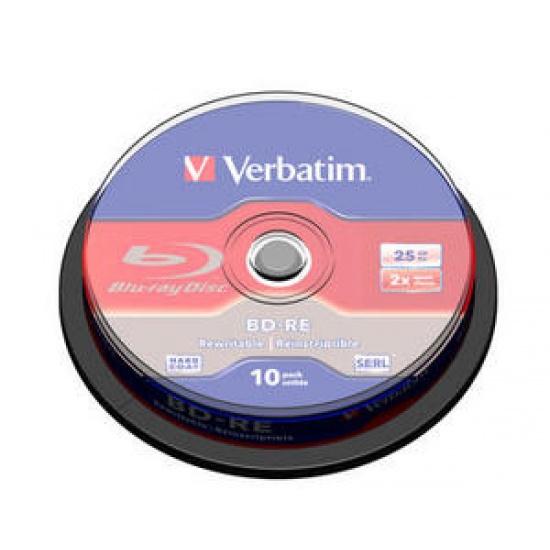 Verbatim Blu-Ray BD-RE 43694 25GB 2X 10-Pack Spindle Box Image
