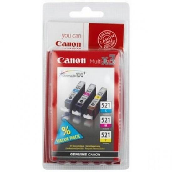 Canon CLI-521 Cyan, Magenta, Yellow Ink Cartridge Image