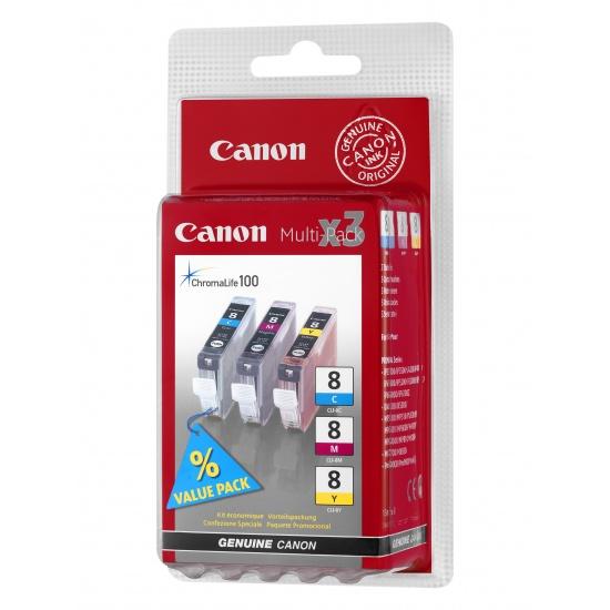 Canon CLI-8 Yellow, Cyan, Magenta Ink Cartridge Image