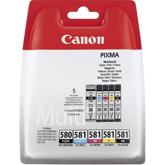 Canon PGI-580 Black, Yellow, Cyan, Magenta Ink Cartridge Image