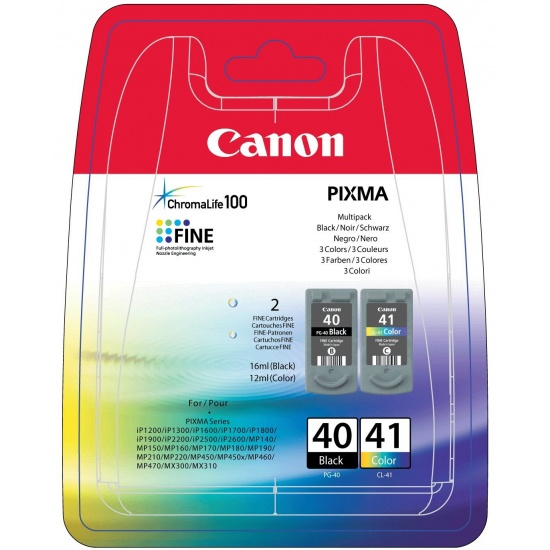 Canon CL-41 Black, Cyan, Magenta, Yellow Ink Cartridge 2-Pack Image